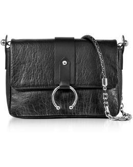 Black Hammered Leather Shoulder Bag