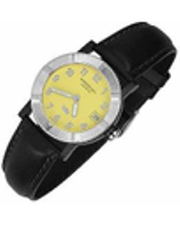 Parsifal W1 - Women's Yellow Stainless Steel & Leather Date Watch