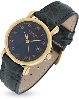Blue Dial 18k Gold And Croco Leather Dress Watch