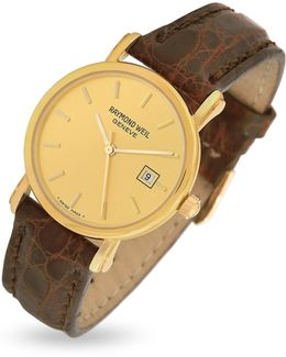 Brown Croco-stamped Leather Strap 18k Gold Date Dress Watch