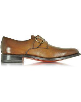 Men's Brown Leather Monk Strap Shoes