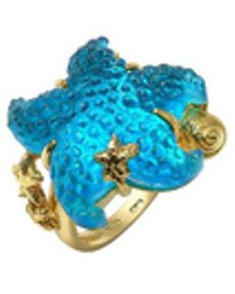 Marina Collection - Blue Starfish 18k Gold Ring