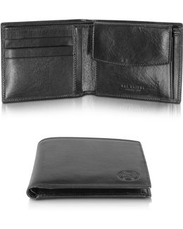 Story Uomo Black Leather Wallet W/coin Pocket