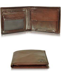 Story Uomo Dark Brown Billfold Wallet W/coin Pocket
