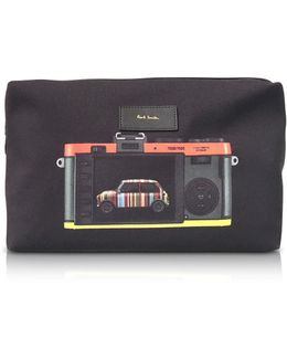 Black Canvas Leica Print Men's Wash Bag