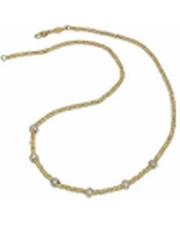 Rondelle Moving Mini - 18k Yellow Gold And Diamond Necklace