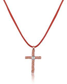 Round Passion - Diamond 18k Rose Gold Cross Pendant