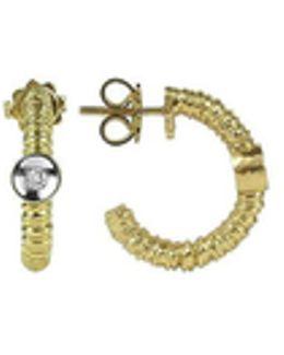 Rondelle - 18k Gold And Diamond Earrings