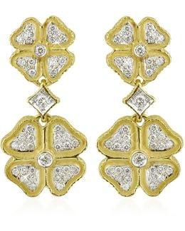 Quadrifoglio Diamond Four-leaf Clover 18k Gold Earrings