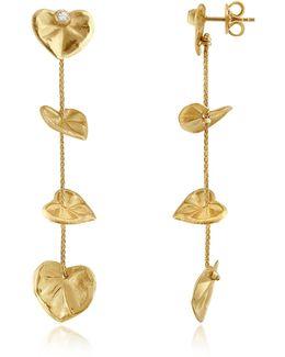 Leaf - Diamond 18k Yellow Gold Drop Earrings