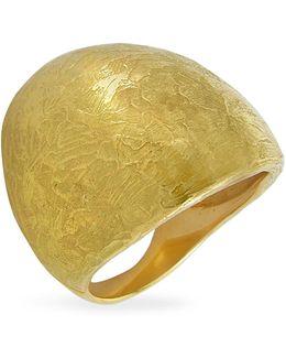 Elena - Flamed 18k Yellow Gold Shield Ring