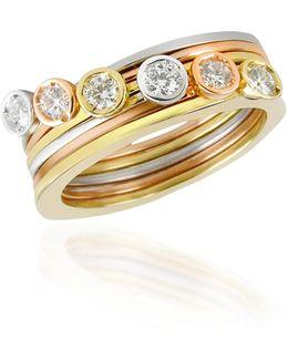 Bezel-set Diamond Three-tone 18k Gold Stackable Ring - Set Of Six