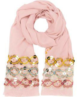 Pink Blossom Embellished Oblong Wool Scarf W/fringes