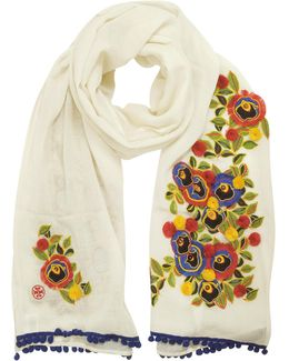 New Ivory And Multi Floral Avalon Embellished Oblong Wool Scarf W/pom-pom