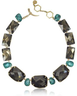 Goldtone Brass W/ Denim Blue Crystals Necklace