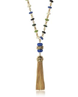 Multicolor Beaded Tassel Long Necklace