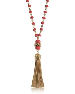 Coral Red Beaded Tassel Long Necklace