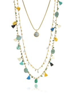 Blue And Vintage Gold Coin And Tassels Multi-layering Necklace
