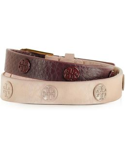 Clay Pink/port Color-block Double Wrap Logo Stud Bracelet