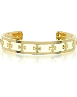 Tory Gold Brass And Enamel Raised Logo Bangle