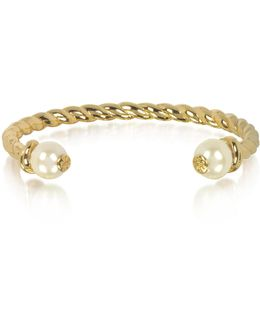 Tory Gold Brass Rope Bangle W/ivory Logo Bead