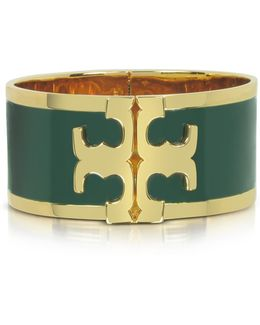Tory Gold Brass And Banyan Green Enamel Raised Logo Wide Cuff Bracelet