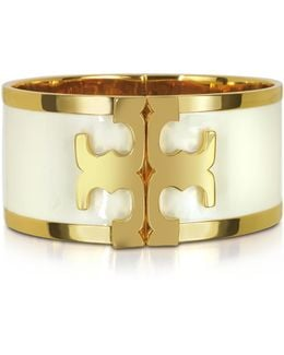 Brass And New Ivory Enamel Raised Logo Wide Cuff Bracelet
