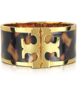 Brass And Tortoise Raised Logo Wide Cuff Bracelet