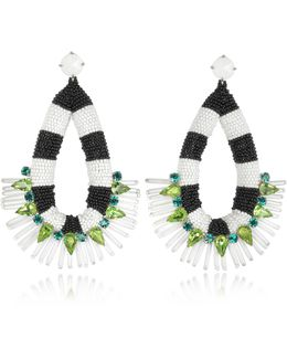 Black And White Beaded Teardrop Earrings