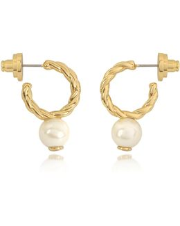 Ivory And Tory Gold Small Rope Pearl Hoop Earrings