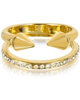 Ultra Mini Gold Tone Titan Band Ring W/crystals