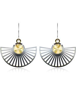 Phase Precious Sterling Silver Fan Dangle Earrings