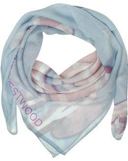 Light Blue & Pink Foul Flash Orbs Print Silk Wrap