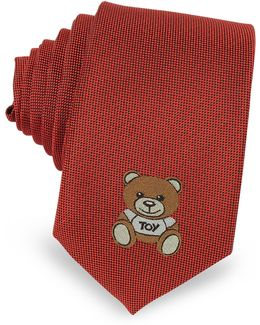 Teddy Bear Solid Silk Jacquard Narrow Tie