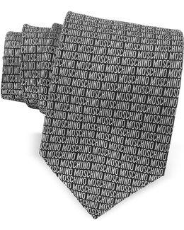 Signature Print Black & Gray Jacquard Silk Tie