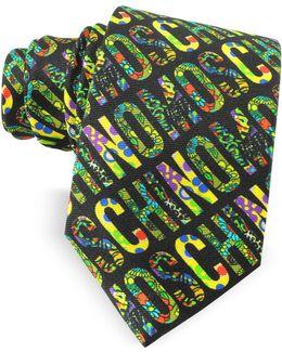 Black & Multicolor Signature Print Twill Silk Narrow Tie