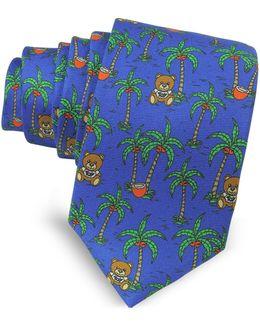 Blue Palms And Teddy Bears Printed Twill Silk Narrow Tie