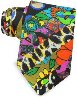 Multicolor Animal Print & Flowers Printed Twill Silk Narrow Tie