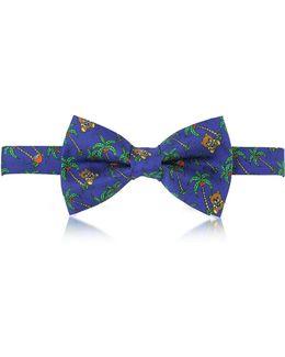 Blue Palms And Teddy Bears Printed Twill Silk Pre Tied Bow Tie