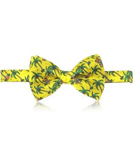 Yellow Palms And Teddy Bears Printed Twill Silk Pre Tied Bow Tie