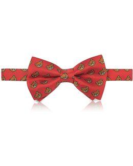 Red Multi Teddy Bear Print Twill Silk Pre Tied Bow Tie