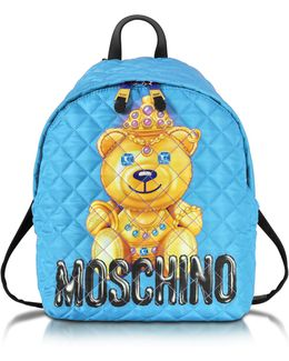 Teddy Bear Blue Quilted Nylon Backpack