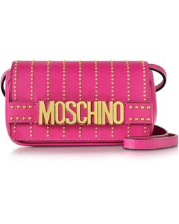 Fuchsia Leather Crossbody Bag W/studs