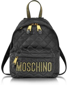 Black Quilted Nylon Small Backpack W/studs