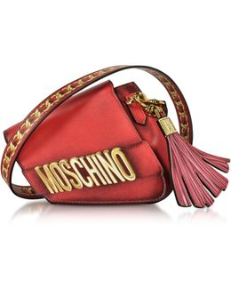 Signature Red Leather Asymmetric Clutch