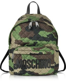 Camo Quilted Nylon Backpack W/logo