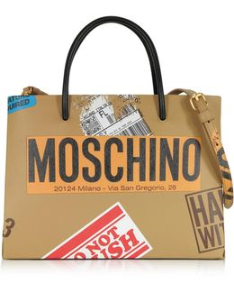 Beige Label Print Leather Small Tote Bag