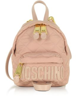 Powder Pink Quilted Nylon Mini Backpack W/logo
