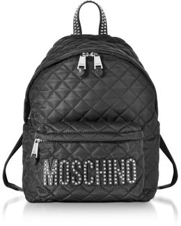 Black Quilted Nylon Backpack W/studs