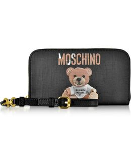 Teddy Bear Saffiano Leather Wallet W/detachable Wristlet